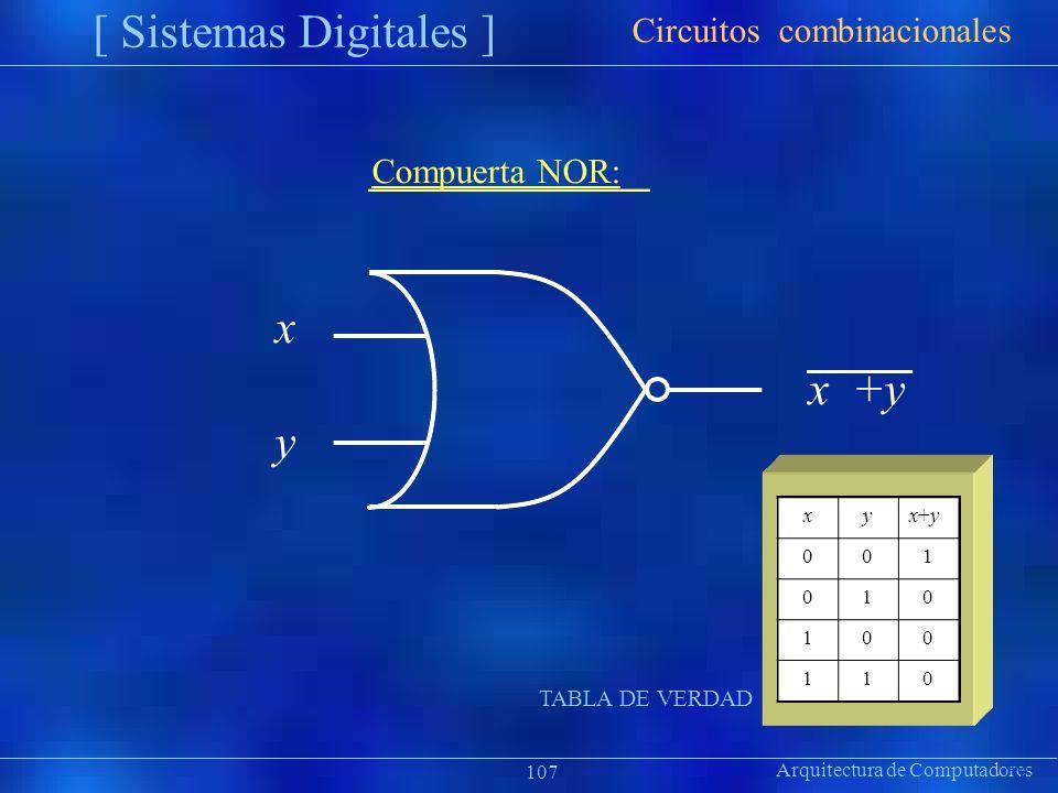 [ Sistemas Digitales ] x y Circuitos combinacionales Compuerta NOR: